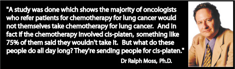 Dr. Ralph Moss:  Majority of Oncologists Would NOT Take Chemo, But They Prescribe It To Keep Their Jobs