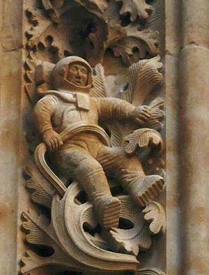 Astronaut Carved Into Art on Cathedral in Salamanca Spain circa 1102 AD
