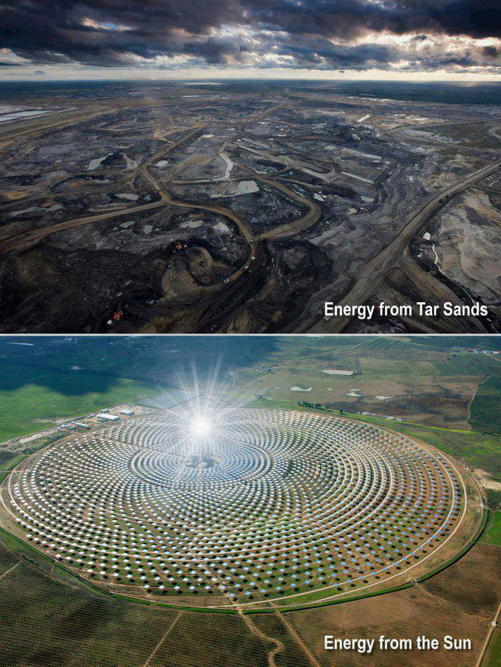 Energy from Tar Sands - Polluted Land and Water - Energy from Solar Arrays - Clean