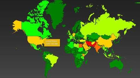 Map of Boundless Informant Data Collected by NSA