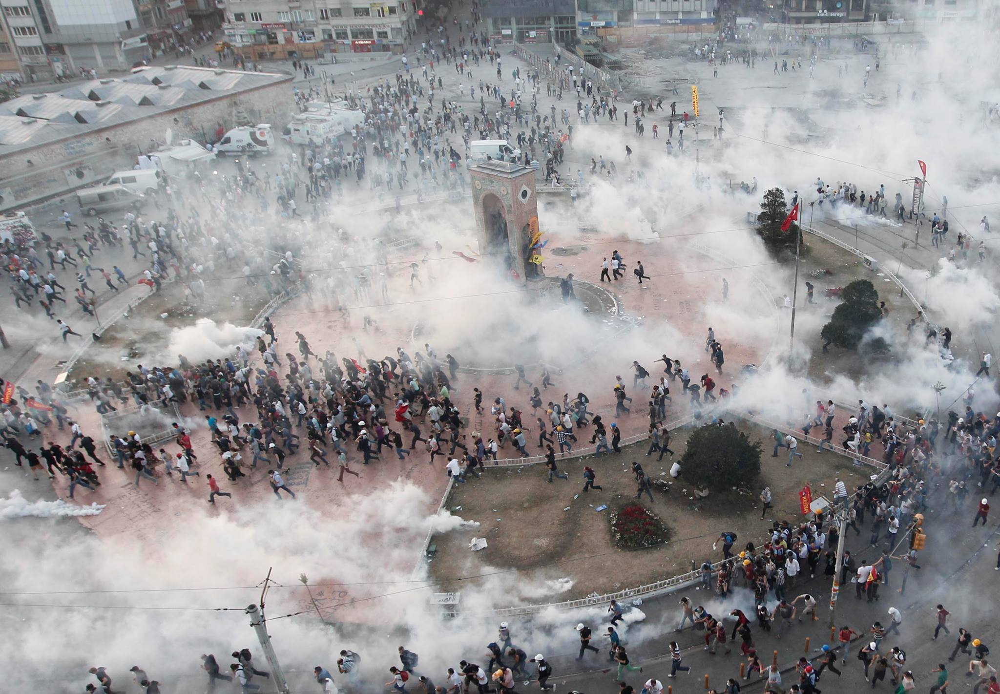 Tear Gas and Water Cannon in Taksim Square - June 11, 2013