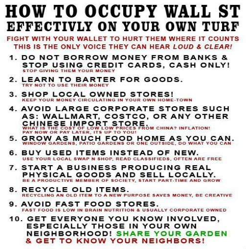 Top 10 Ways to Occupy Wall St on Your Own Turf