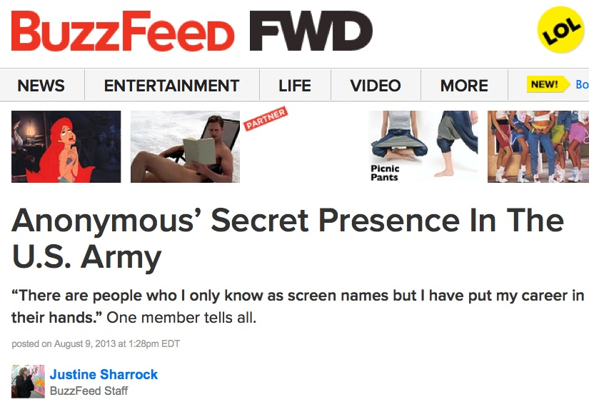 Anonymous' Secret Presence in US Army