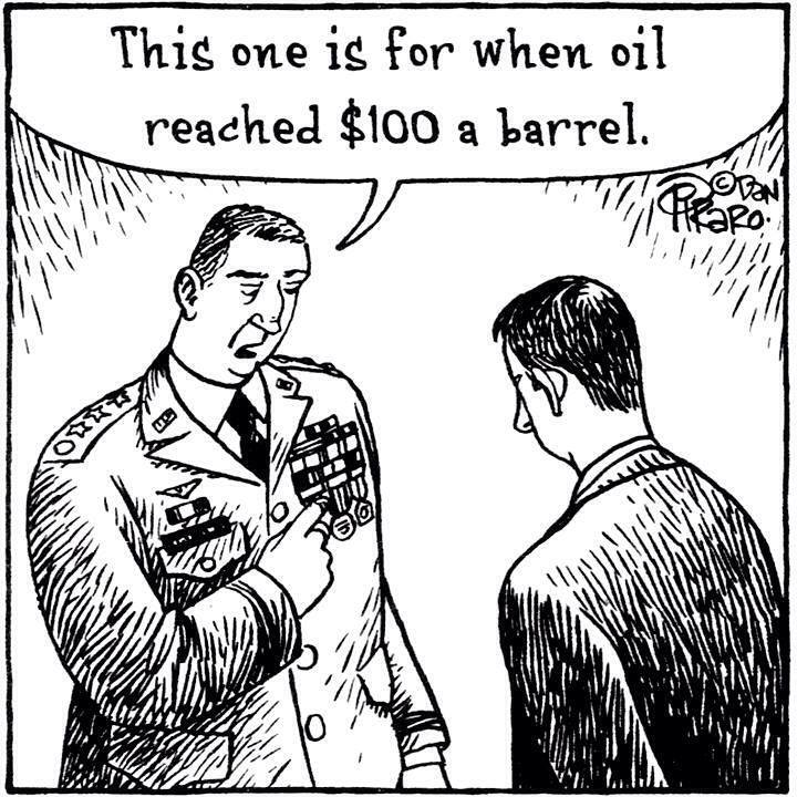 General Pointing to Medals on Chest - This One Is For Oil Reaching 100 per Barrel
