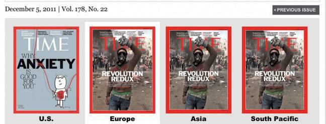 USA version of TIME Magazine cover doesn't show revolutions