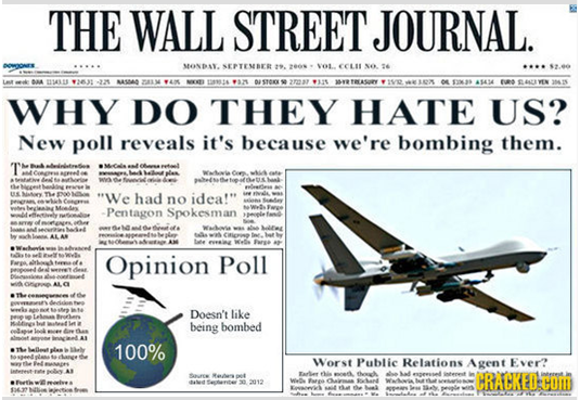 Why Do They Hate Us - New Poll Reveals Its Because We Are Bombing Them