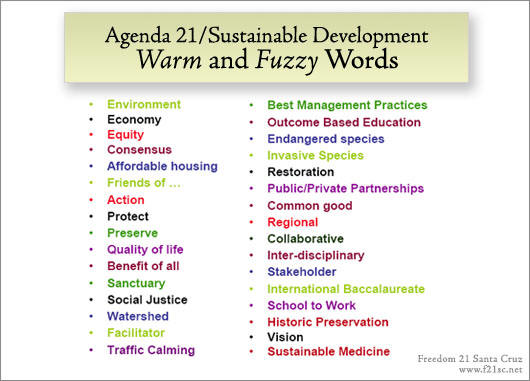 Agenda 21 Warm and Fuzzy Words