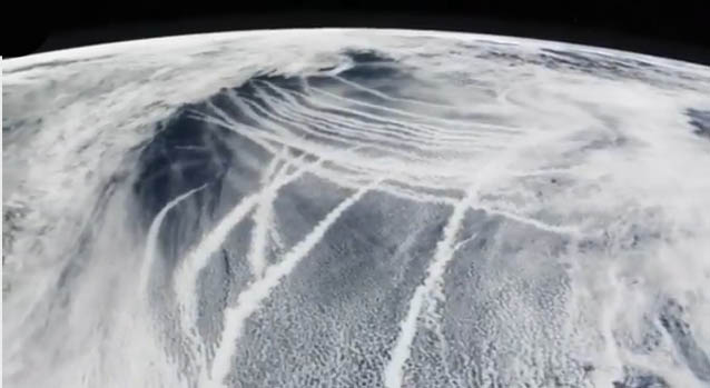 Satellite Photo of Chemtrails Over Northeast US Just Prior to Superstorm Sandy